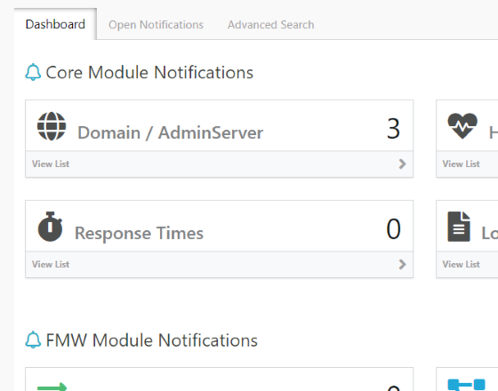 WLSDM | WL-OPC Central Notification Dashboard All Notification Types for Oracle WebLogic