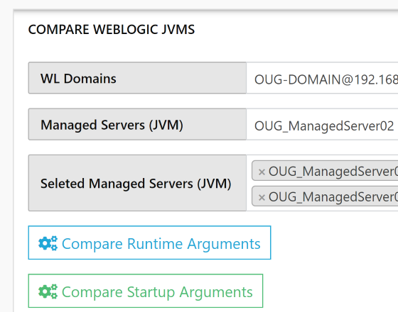 WLSDM | WL-OPC Compare WebLogic JVM Arguments Startup Parameters for Oracle WebLogic